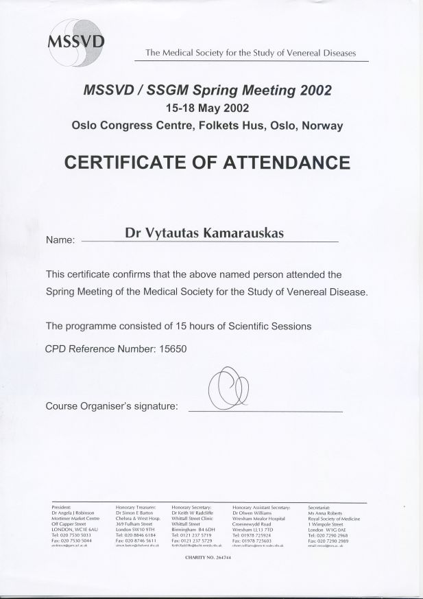 Medical Society for the Study of Venereal Diseases Spring Meeting 2002, 15-18 May in Oslo Congress Centre