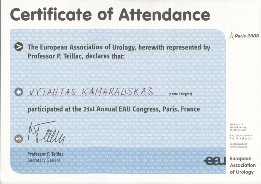 21st Annual European Association of Urology Congress in Paris, 2006 April 5-8th