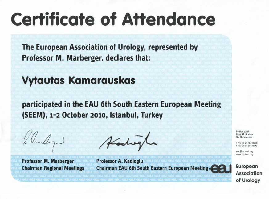 EAU 6th South Eastern European Meeting, 1-2 October 2010, Istanbul